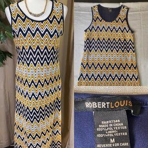 Robert Louis maxi dress blue, yellow, white sz M